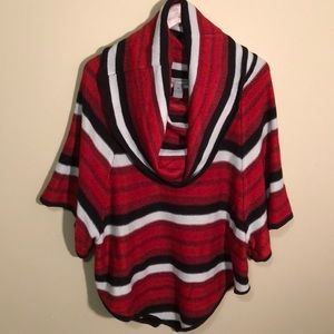 Red Striped Poncho Sweater- XL